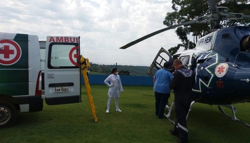 Acidente de moto é registrado e paciente precisou ser transferido com helicóptero