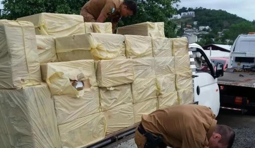 Salto do Lontra: Polícia Militar apreende mais de 43 mil carteiras de cigarros