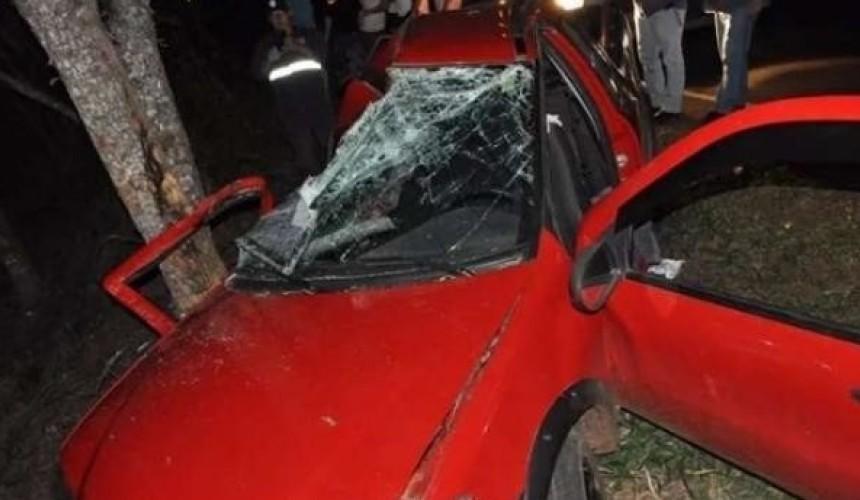 Jovens ficam feridos ao bater carro em árvore na PR 471 em Salto do Lontra