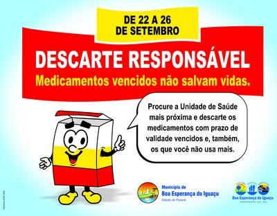 Campanha incentiva o descarte correto de medicamentos vencidos em Boa Esperança do Iguaçu