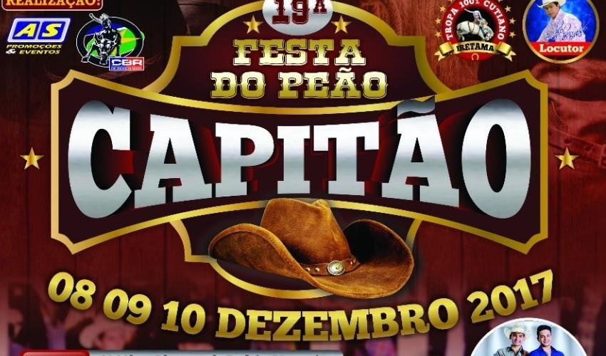Acontece neste final de semana a 19ª Festa do Peão em Capitão