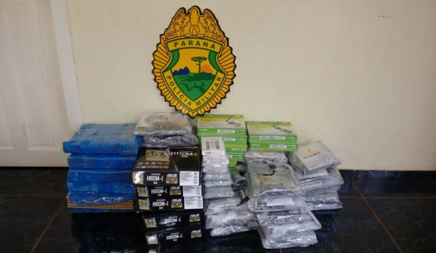 Policia de Capitão apreende eletrônicos e cigarros contrabandeados