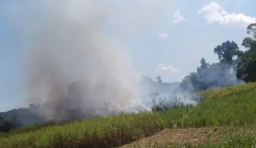 Bombeiros de Capitão combatem incêndio em canavial