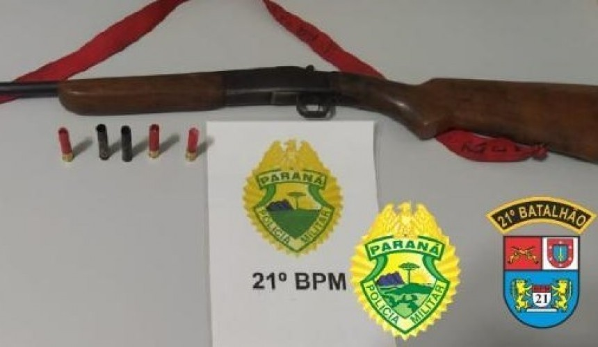 Homem é preso com espingarda e munições em Planalto