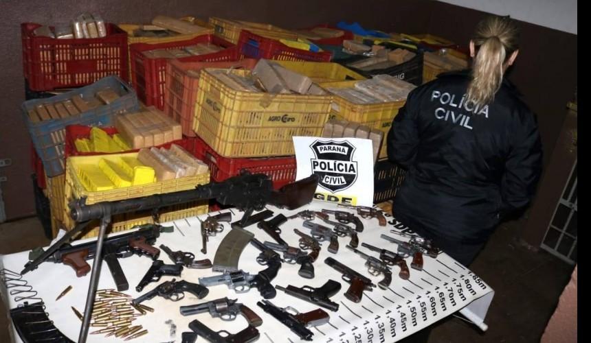 PCPR apreende quase duas toneladas de drogas e 25 armas em Foz do Iguaçu