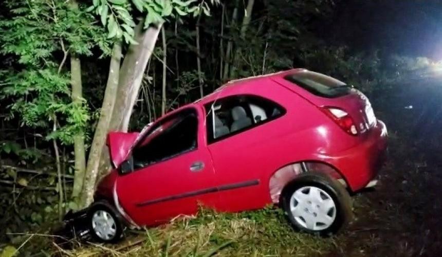 Homem morre após carro colidir contra árvore na PR-281, entre Santa Izabel do Oeste e Salto do Lontra