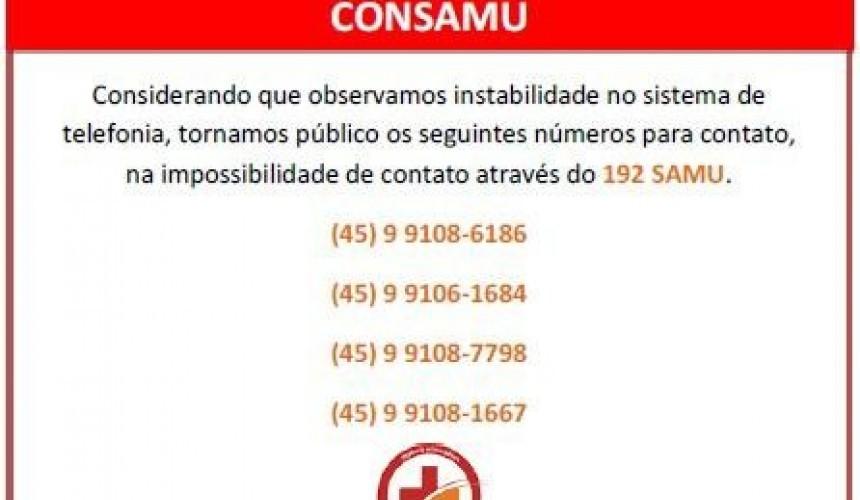 Por instabilidade de operadoras Consamu divulga novos números para contato
