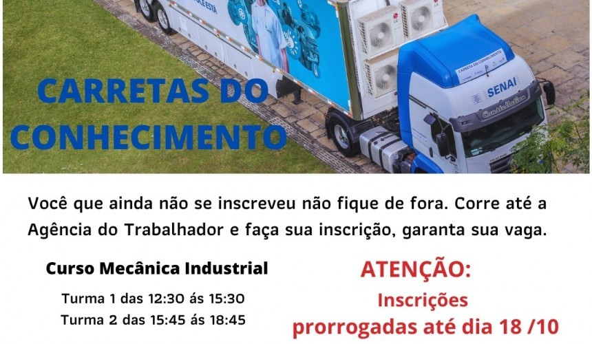 CARRETA DO CONHECIMENTO: Inscrições para o Curso de Mecânica industrial em Capitão são prorrogadas