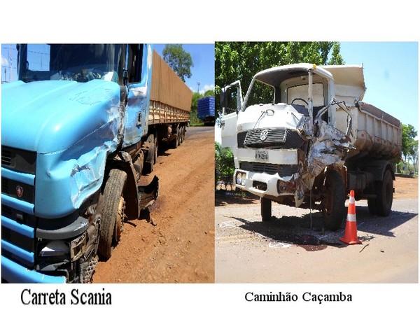 Caminhão caçamba de Capitão e carreta Scania colidiram na BR 163